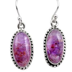 12.12cts natural purple cacoxenite super seven 925 silver dangle earrings p86156