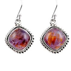 11.95cts natural purple cacoxenite super seven 925 silver dangle earrings p86173