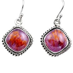 12.01cts natural purple cacoxenite super seven 925 silver dangle earrings p86178