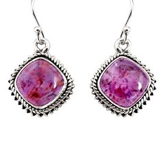 11.21cts natural purple cacoxenite super seven 925 silver dangle earrings p91582