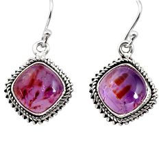 10.78cts natural purple cacoxenite super seven 925 silver dangle earrings p91598