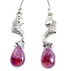 9.63cts natural purple cacoxenite super seven 925 silver fish earrings p43232
