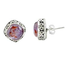 10.33cts natural purple cacoxenite super seven 925 silver stud earrings p67223