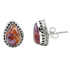 8.41cts natural purple cacoxenite super seven 925 silver stud earrings p67286