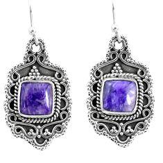 7.07cts natural purple charoite (siberian) 925 silver dangle earrings p52754