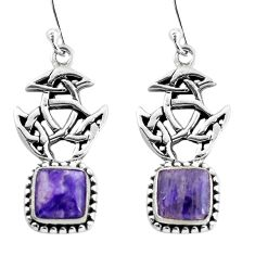 6.89cts natural purple charoite (siberian) 925 silver dangle earrings p60774