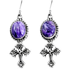 5.30cts natural purple charoite (siberian) 925 silver holy cross earrings p60770