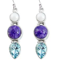 12.52cts natural purple charoite (siberian) topaz 925 silver earrings p57495