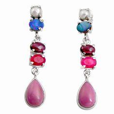 15.31cts natural purple phosphosiderite (hope stone) 925 silver earrings d32307