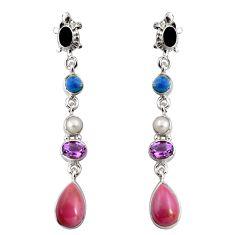 16.93cts natural purple phosphosiderite (hope stone) 925 silver earrings d32308