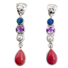 14.39cts natural purple phosphosiderite (hope stone) 925 silver earrings d32315