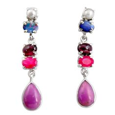 16.46cts natural purple phosphosiderite (hope stone) 925 silver earrings d32317