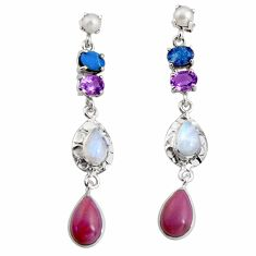 17.36cts natural purple phosphosiderite (hope stone) 925 silver earrings d32319