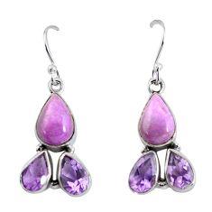 12.78cts natural purple phosphosiderite (hope stone) 925 silver earrings p57408