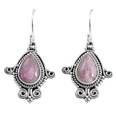6.70cts natural purple phosphosiderite (hope stone) 925 silver earrings p58253