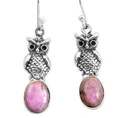 5.57cts natural purple phosphosiderite (hope stone) silver owl earrings p60871