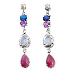 17.81cts natural purple phosphosiderite 925 silver dangle earrings d32310