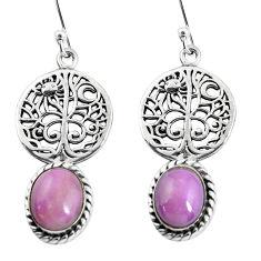 8.43cts natural purple phosphosiderite 925 silver tree of life earrings p54845