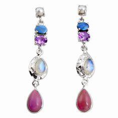 17.81cts natural purple phosphosiderite amethyst silver dangle earrings d32302