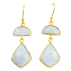 15.31cts natural rainbow moonstone 925 silver 14k gold dangle earrings p58498