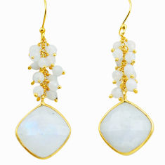 21.98cts natural rainbow moonstone 925 silver 14k gold dangle earrings p75680