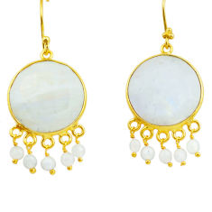 31.58cts natural rainbow moonstone 925 silver 14k gold dangle earrings p75696
