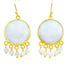 26.46cts natural rainbow moonstone 925 silver 14k gold dangle earrings p75699