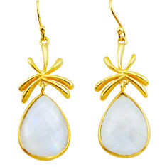 21.50cts natural rainbow moonstone 925 silver 14k gold dangle earrings p75716