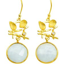 19.68cts natural rainbow moonstone 925 silver 14k gold dangle earrings p75740