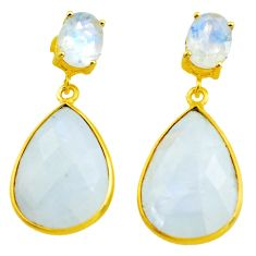 20.74cts natural rainbow moonstone 925 silver 14k gold dangle earrings p75758