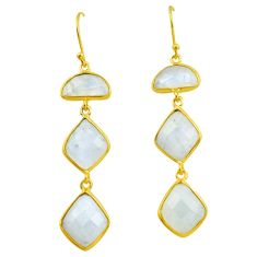 22.78cts natural rainbow moonstone 925 silver 14k gold dangle earrings p75785