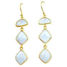 22.08cts natural rainbow moonstone 925 silver 14k gold dangle earrings p75788