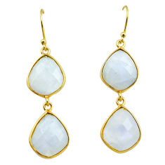 23.23cts natural rainbow moonstone 925 silver 14k gold dangle earrings p75801