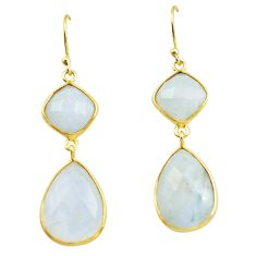 23.23cts natural rainbow moonstone 925 silver 14k gold dangle earrings p75806