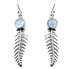 3.12cts natural rainbow moonstone 925 silver dangle feather earrings p80500