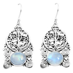 7.23cts natural rainbow moonstone 925 silver tree of life earrings p51942