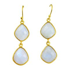 19.76cts natural rainbow moonstone 925 sterling silver 14k gold earrings p91276