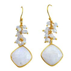 21.41cts natural rainbow moonstone 925 sterling silver 14k gold earrings p91280
