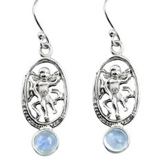 1.91cts natural rainbow moonstone 925 sterling silver angel earrings p84950
