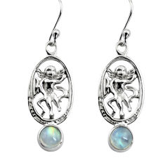 1.91cts natural rainbow moonstone 925 sterling silver angel earrings p84955