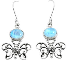 4.82cts natural rainbow moonstone 925 sterling silver butterfly earrings p38465