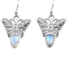 4.40cts natural rainbow moonstone 925 sterling silver butterfly earrings p84888