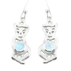 2.19cts natural rainbow moonstone 925 sterling silver cat earrings p40257