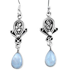 Clearance Sale- 4.08cts natural rainbow moonstone 925 sterling silver dangle earrings d31570