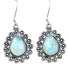 8.03cts natural rainbow moonstone 925 sterling silver dangle earrings d31645