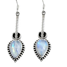 11.46cts natural rainbow moonstone 925 sterling silver dangle earrings d32438