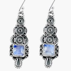5.06cts natural rainbow moonstone 925 sterling silver dangle earrings d32471
