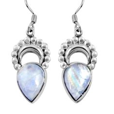 12.83cts natural rainbow moonstone 925 sterling silver dangle earrings d32480