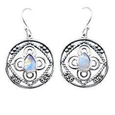 3.19cts natural rainbow moonstone 925 sterling silver dangle earrings d32481