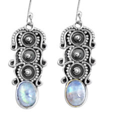 4.48cts natural rainbow moonstone 925 sterling silver dangle earrings d32490